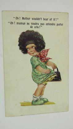 1925-Inter-Art-Arthur-Butcher-Vintage-Postcard-No-5044-Little-Girl-Handbag