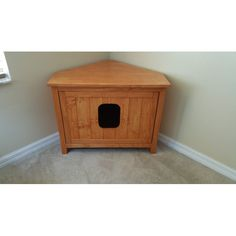 corner cabinet cat litter box chest with odor absorbing light