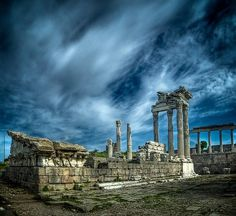 Pergamon Temple of Trajan, Turkey  The Temple of Trajan was a 2C AD temple in Corinthian order, dedicated to Trajan, built by his successor Hadrian. Both emperors were worshiped there. The temple was built of marble, probably on the site of a previous Hellenistic building.