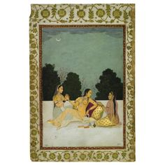 A LADY ON A TERRACE WITH TWO MAIDS, MUGHAL, CIRCA 1740. Opaque watercolour and gold on paper; mounted on an album page decorated with floral borders; the reverse with a page of calligraphy in a fine naskhi script, floral borders  30.2 by 20.2cm. (11 7/8 by 8in.)