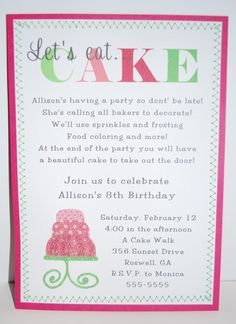 Baking birthday party invitations preppy baking kitchen cupcake decorating party birthday party ideas stopboris Image collections