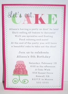 Cupcake party invitations 625 per 10 bigredzippy girls cupcake cupcake decorating party birthday party ideas stopboris Image collections