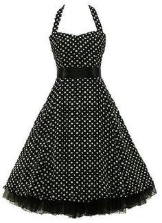 Rockabilly kleid 50s Polka Dot Schwarz petticoat kleid Neckholder kleid Abendkleid Cocktail Kleid GR.XS/S/M/L/XL/XXL/XXXL: Amazon.de: Bekleidung