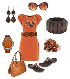 orange outfit by kaybraden on Polyvore featuring Dorothy Perkins, Minnetonka, Forever 21, Bakers, FOSSIL, 1928 and Oasis