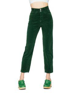 Swedish Hasbeens HasJeans Mom Deep Green Corduroy                                                                                                                                                                                 More