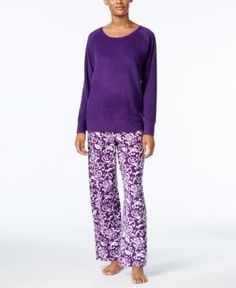 Charter Club Textured Fleece Pajama Set, Only at Macy's - Purple L