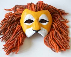 Lion Mask - Masquerade Mask - OOAK Handcrafted £49.99, made from paperclay, wool and handpainted