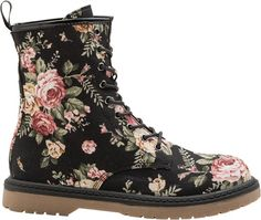 Combat Boots With Flowers - Boot Hto
