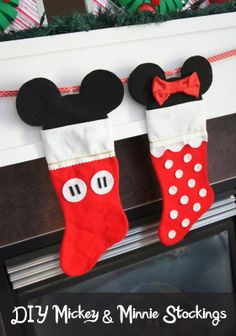 DIY Mickey & Minnie Stockings - DolledUpDesign