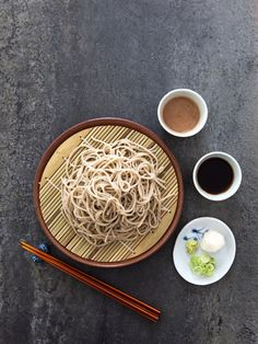Cold soba noodles with two dipping sauces: one made of dashi and the other a homemade, lightly sweetened walnut paste.