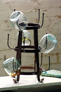 Rustic glass or mug dryer rack.  Bought it to hang coffee mugs.  Love it! Antique Farmhouse, Farmhouse Decor, Industrial Farmhouse, Vintage Industrial, Industrial Style, Farmhouse Style, City Farmhouse, Coastal Farmhouse, French Farmhouse