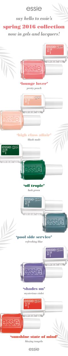 """El verde """"off tropic"""" es hermosoooo Say hello to essie's Spring 2016 collection -- this bold and bright collection is now in gels and lacquers! Love Nails, How To Do Nails, Pretty Nails, Fun Nails, Essie Nail Polish, Nail Polish Colors, Manicure And Pedicure, Pedicures, Essie Colors"""