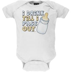 Old Glory - Unisex-baby I Drink Till I Pass Out Infant Bodysuit 0-6 Months White. Officially Licensed Merchandise. Brand New Quality Product. Music, Sports & Entertainment Item.