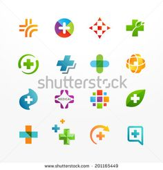 Vector set of medical logo icons with cross. Collection of signs with plus symbol.