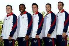The 2012 USA Gymnastics men's Olympic team poses for a photo together.  From L to R: Jonathan Horton, John Orozco, Sam Mikulak, Jake Dalton and Danell Leyva.