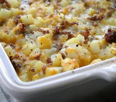Cheesy Potato Breakfast Casserole serves 1 pound Johnsonville Mild Italian Sausage, cooked 1 yellow onion, chopped, sauteed in sausage grease 7 eggs cup milk 20 ounce bag frozen Ore-Ida Diced Hash Browns 8 ounce brick of Mild Cheddar Cheese, grated Salt Breakfast Desayunos, Breakfast Items, Breakfast Dishes, Breakfast Cassarole, Sausage Breakfast, Breakfast Casseroles With Hashbrowns, Breakfast Healthy, Frozen Breakfast, Breakfast For A Crowd