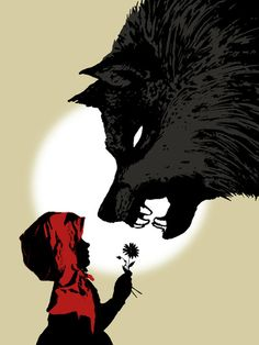 Little Red Riding Hood - Le petit Chaperon Rouge - Peace Offering - Budi Satria Kwan Anime Wolf, Little Red Ridding Hood, Red Riding Hood Wolf, Fantasy Anime, Big Bad Wolf, Red Hood, Fairy Tales, Illustration Art, Food Illustrations