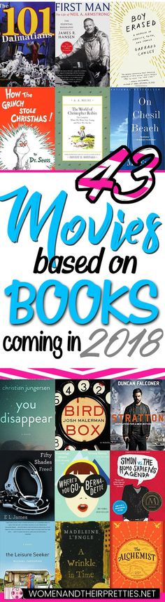 Add these books to your 2018 Must Read List. The new year is right around the corner and so are a ton of incredible movies! I'm excited to share the 43 movies based on books coming in 2018! Be sure to mark your calendars because 2018 is going to make book lovers very happy! #ToReadList #ReadingList #2018ReadingList #WatchList