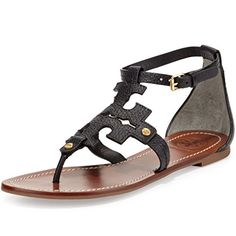 31667caa0a88 Tory Burch Phoebe Elba Thong Sandal TB Logo Flat Leather 65 BM Black --  Visit the image link more details.