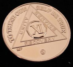 24K Gold Plated Alcoholics Anonymous 11 Year Medallion Coin Token Chip