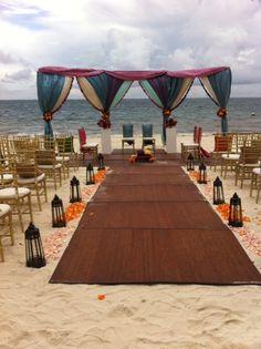 Wedding setup at Dreams Riviera Cancun in Mexico. Part of Dreams Resorts' South Asian Shaadi Wedding Package. Available at select Dreams Resorts!