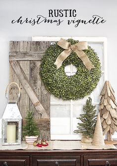 Simple Rustic Christmas Vignette with a bountiful Boxwood Wreath.  www.livelaughrowe.com---2014.