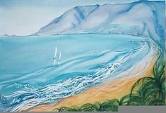 Gurney Art - Water Colours Waves, Tapestry, Colours, Watercolor, Outdoor, Decor, Art, Hanging Tapestry, Pen And Wash