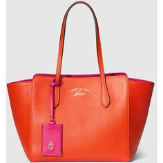 Gucci Gucci Swing Small Leather Tote ($1,120) ❤ liked on Polyvore featuring bags, handbags, tote bags, orange, totes, ipad tote, orange tote, red tote, zippered tote bag and gucci handbags