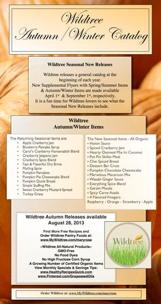 Wildtree Seasonal Releases - Autumn/Winter www.HealthyRecipesQuick.com Click thru to see the monthly specials