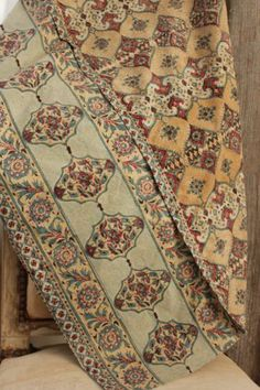 Antique 19th c Kalamkari fragment Indian block printed chintz textile www.textiletrunk.com
