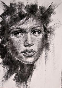 Купить Она - серый, портрет на заказ, графика, портрет по фото, рисунок, подарок девушке