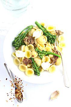 Orecchiette with Sausage, Broccolini, and Burrata