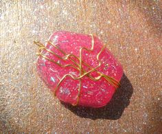 Hexagonal Pink Glitter Pendant With Gold Wire Wrapping on Etsy, $6.00