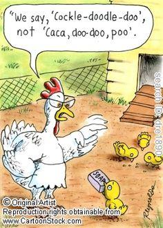 CartoonStock - 'We say cock-a-doodle-doo', not 'caca, doo-doo, poo'. Funny Cartoons, Funny Comics, Funny Jokes, Fun Funny, Grammar Jokes, Funny Riddles, That's Hilarious, Funny Farm, Chicken Jokes