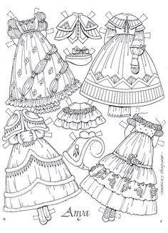 Paper doll~ Anya Imagines by Charles Ventura page 8 Paper Dolls Clothing, Paper Clothes, Clothes Crafts, Paper Dresses, Old Clothes, Paper Toys, Paper Crafts, Paper Dolls Printable, Vintage Paper Dolls