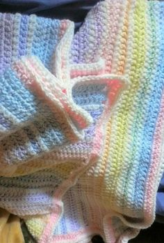 Rainbow crocheted baby blanket....definitely making one for my kid