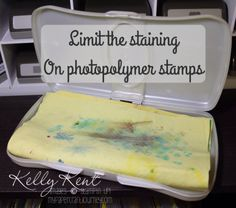 Limit the staining on your photopolymer stamps by cleaning with a PVA car chamois. Thanks to Maggie Made Cards for the tip! Kelly Kent - mypapercraftjourney.com.