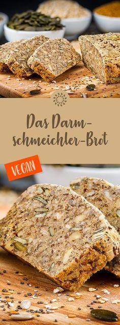 Darmschmeichler-Brot zum Geniessen: Kerne, Samen, Haferflocken, Hirsemehl, Flohsamenschalenpulver und Gewürze sind ausgesprochen positiv für eine gut funktionierende Verdauung. #rezept #vegan #brot