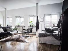 Post: Poco espacio y mucho estilo --> cocina pequeña nordica, decoración en gris, decoración interiores pequeños, decoración mini pisos, decoración pisos poco espacio, diseño de interiores, estudio pequeño decoración, interior diáfano, mucho estilo nórdico