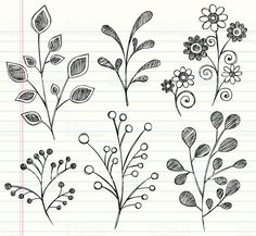 Hand-Drawn Sketchy Notebook Doodles Leaves royalty-free stock vector art
