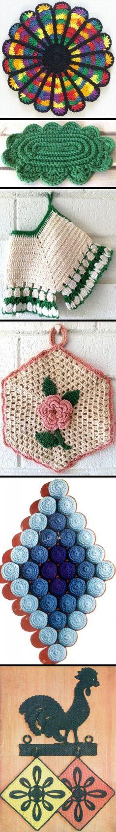 Several potholder and hotplate crochet patterns