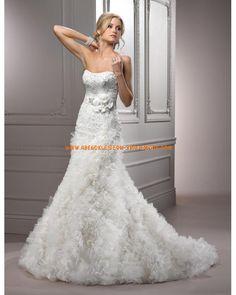 2012 Wunderschöne Meerjungfrau Brautkleider aus Organza mit Kapelle sexy Korsage