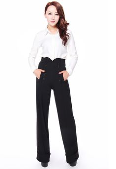 a29e2073b9460 Chic Star Black High Waist TrousersBeautiful retro style trousers from Chic  Star. These gorgeous style black trousers feature wide flared legs