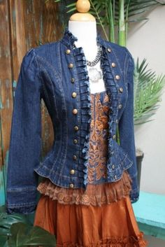 Repurpose inspiration: Jeans jacket; add bell sleeves from long jeans. Pleating/ruffles down front with button accents.