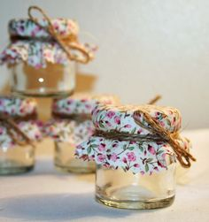 Favours with different material - fill with chutney, honey, jam or homemade candle