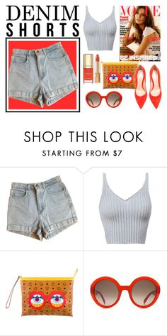 """DENIM SHORTS + RED"" by skinny-feels on Polyvore featuring American Apparel, MCM, Alexander McQueen, Dolce&Gabbana, Gianvito Rossi, jeanshorts, denimshorts and cutoffs"
