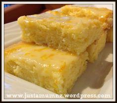 Delicious Lemon Brownies - Just a Mum Lemon Desserts, Lemon Recipes, Sweet Recipes, Delicious Desserts, Yummy Food, Lemon Cakes, Brownie Recipes, Cookie Recipes, Dessert Recipes