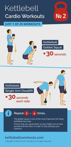 1 of 25 kettlebell cardio workouts using over 600 muscles with only 2 kettlebell exercises. An excellent combination of the kettlebell goblet squat and kettlebell deadlift. #kettlebell #fitness #exercise #kettlebellworkout