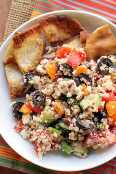 Greek Super Grains Salad with Homemade Pita Chips