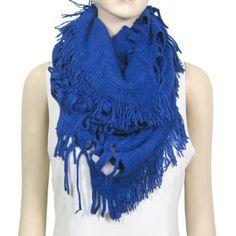 Infinity Knit and Fringe Scarf Soft Indigo Blue Echomerx. $12.90
